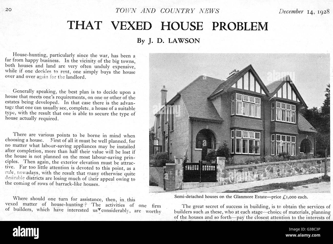 Classic British semi-detached  houses         Date: 1928 - Stock Image