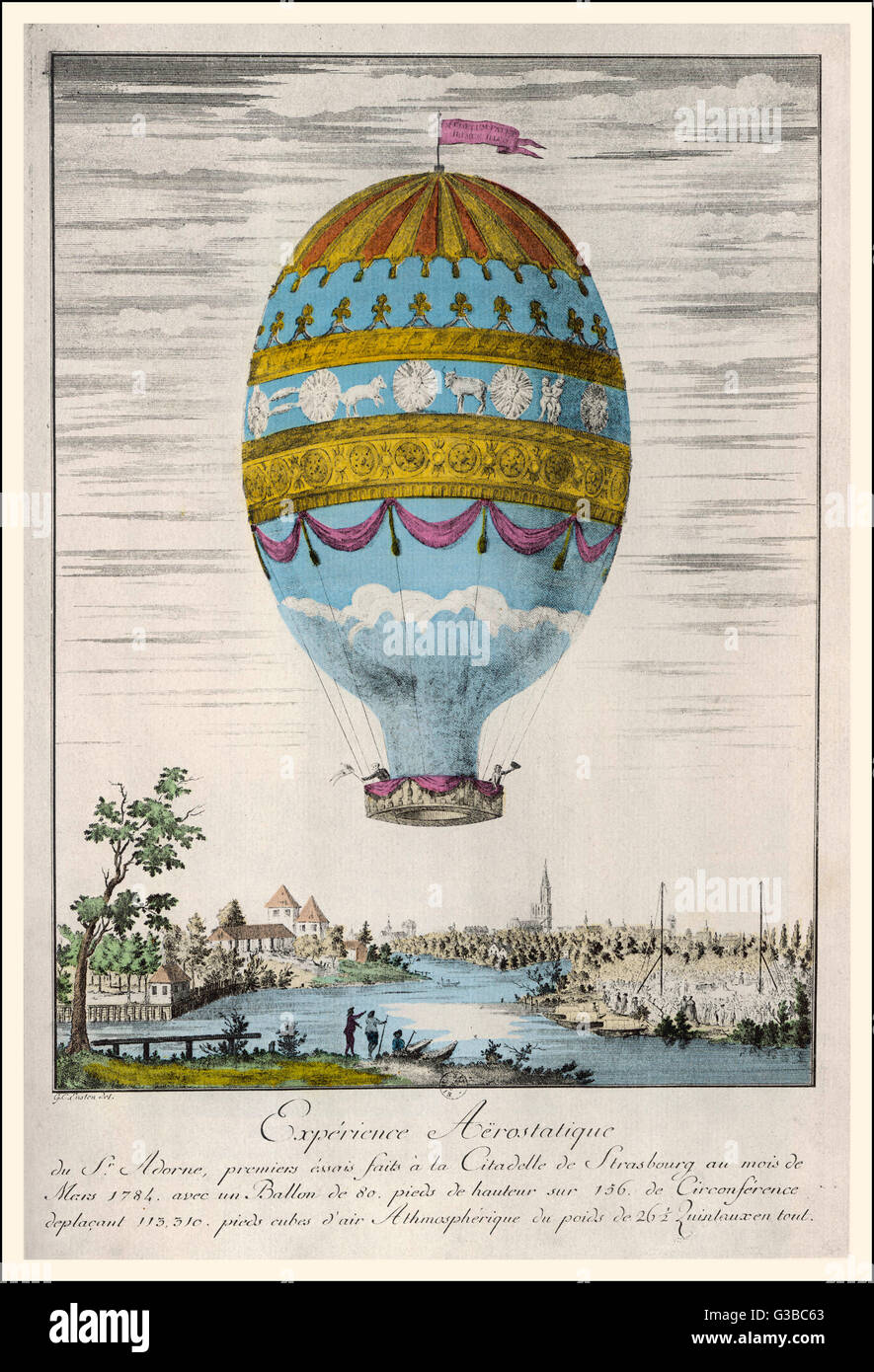 The aeronautic experience of  Adorne who flew over  Strasbourg, France, at a  height of 80 feet.  He and his  companion - Stock Image