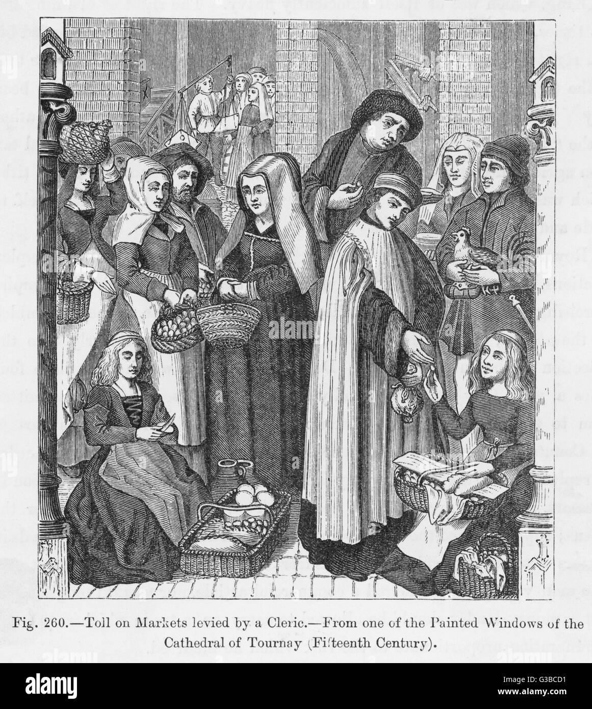 Toll on markets levied by a  cleric         Date: 15th century - Stock Image