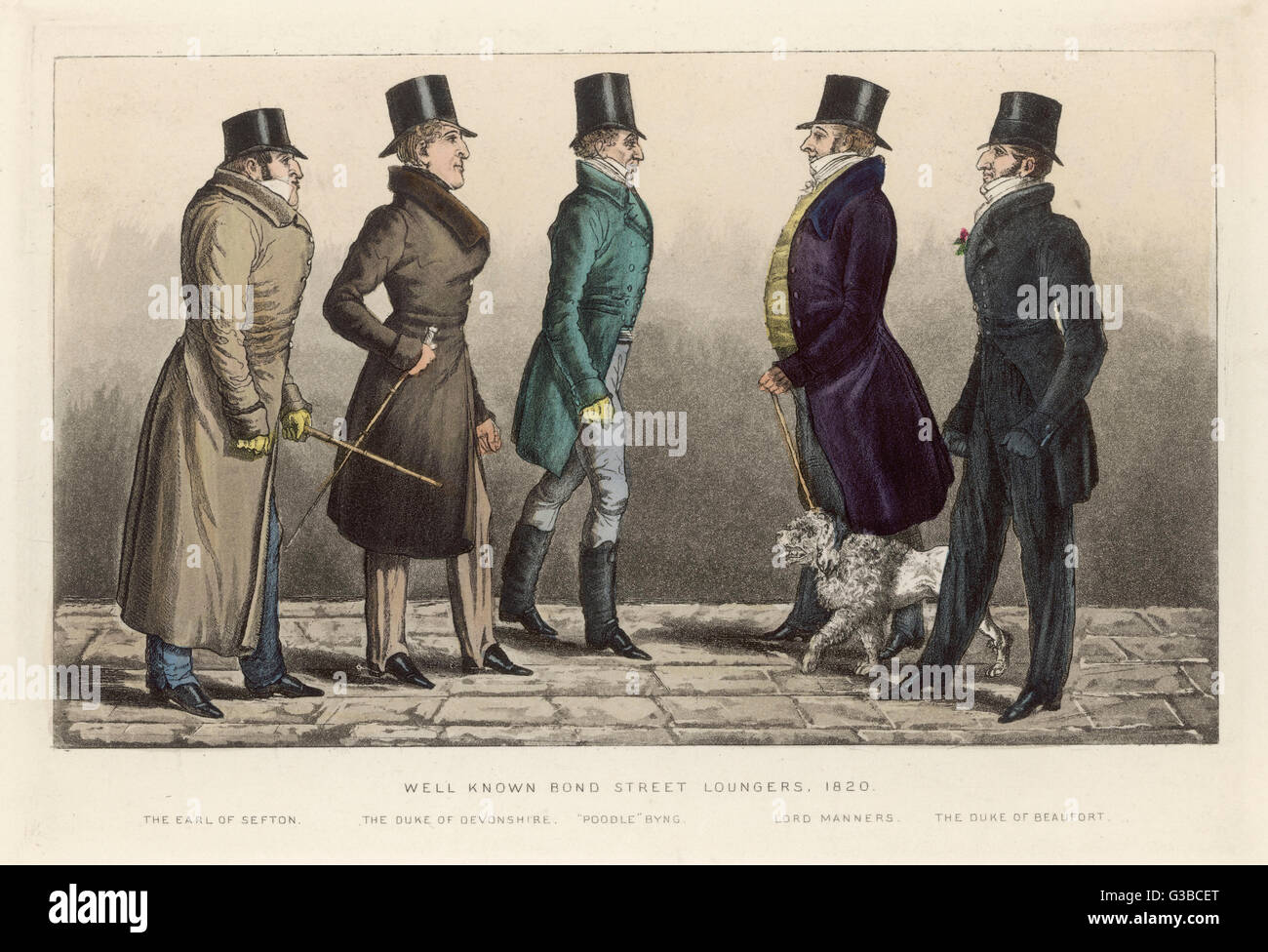 Bond Street 'Loungers' wear:  strapped trousers, hessian  boots, greatcoat, frock coat,  top hats, buttonhole, - Stock Image