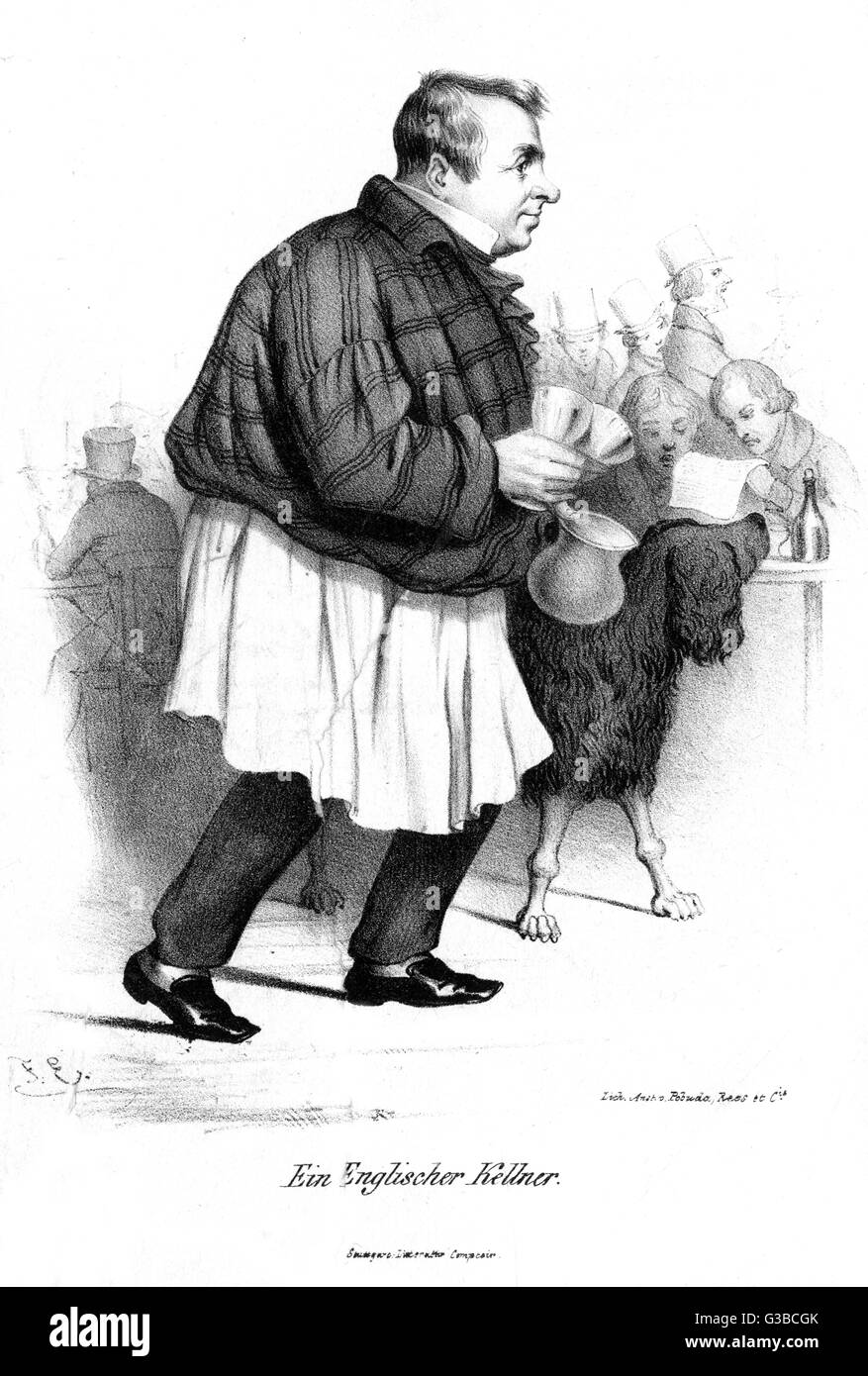 An English waiter carries cups  and a jug to a table,  accompanied by a wooly dog.        Date: 1838 - Stock Image