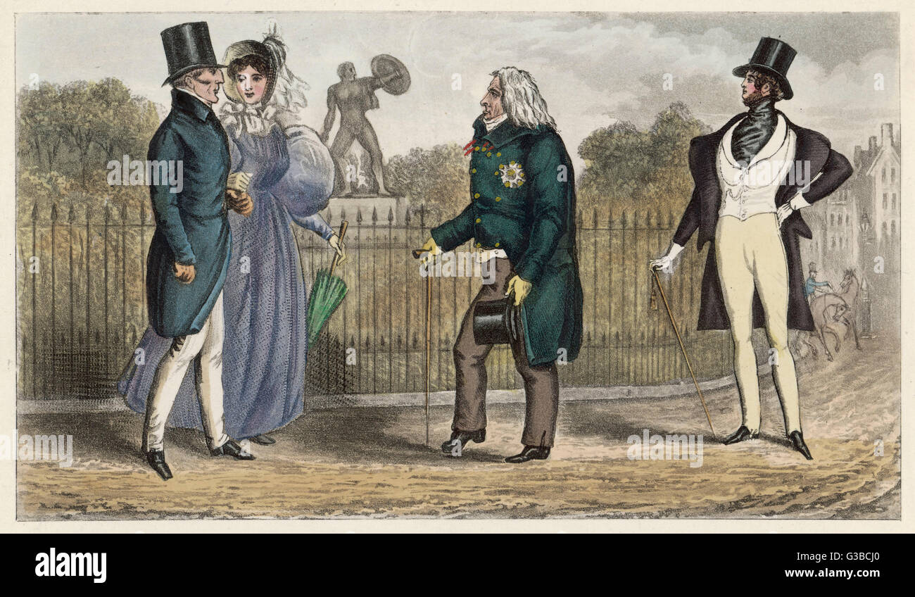 Celebrities in the park:  Duke of Wellington, Mrs  Arbuthnot, Prince Talleyrand,  and Count d'Orsay.      Date: - Stock Image