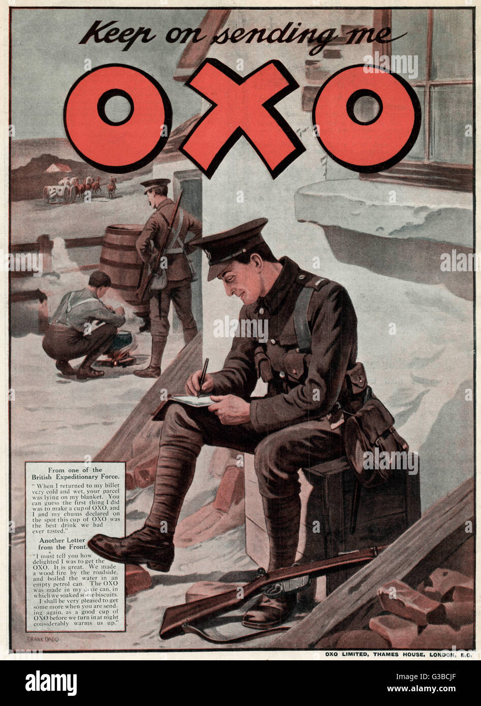 british expedition soldier writing a letter asking to keep on sending me oxo during the first world war soldiers where given oxo cubes in their ration
