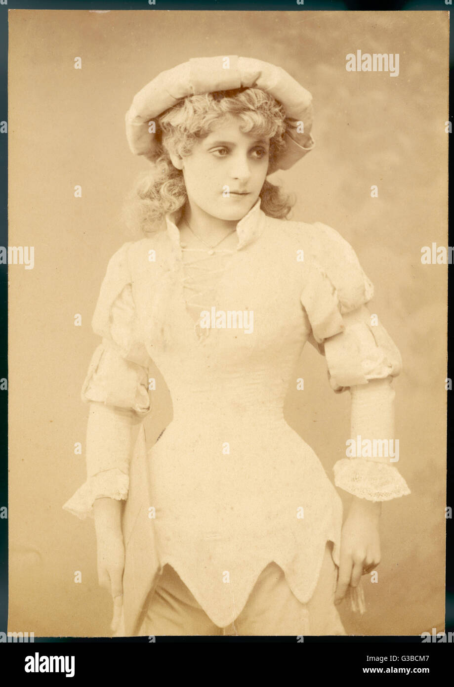 Young Victorian woman,  probably a Shakespearean  actress 'disguised' as a boy.       Date: late 19th century - Stock Image