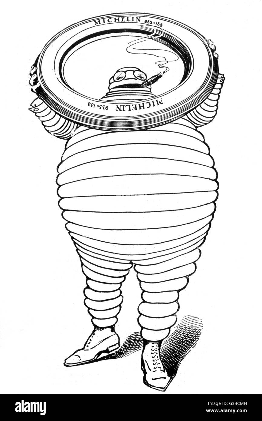 A advertisement for Michelin  Tyres, featuring the Michelin  Man.        Date: 1909 - Stock Image