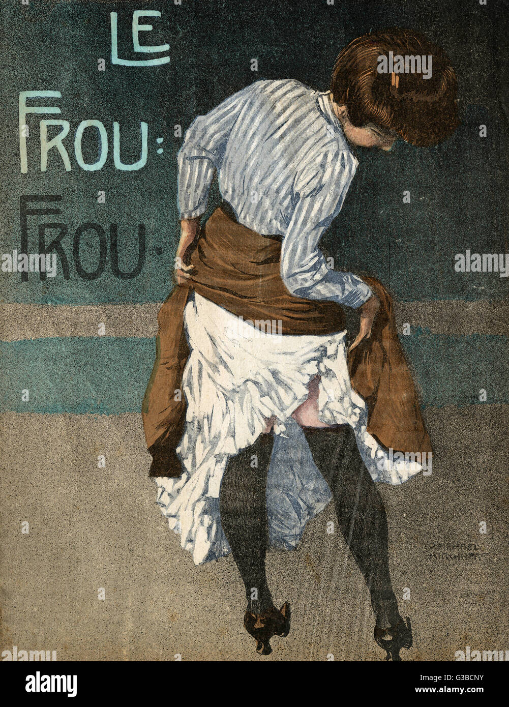 A woman stops to check her  petticoats, or to see if she's  laddered her stockings.       Date: 1908 - Stock Image