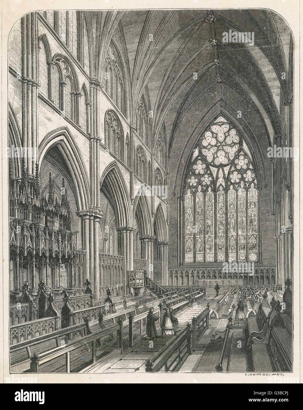 The Gothic choir stalls in  Ripon Cathedral         Date: 19th century - Stock Image