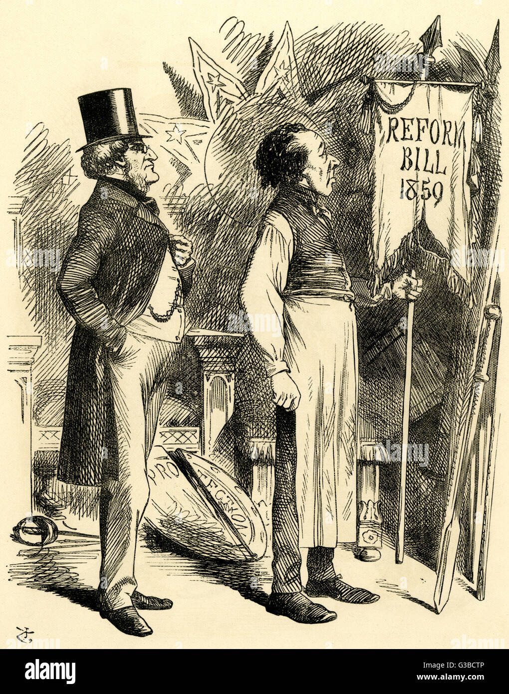 """Political """"Economy"""" Disraeli thinks the old  'Reform Bill 1859' banner will  do nicely - Stock Image"""