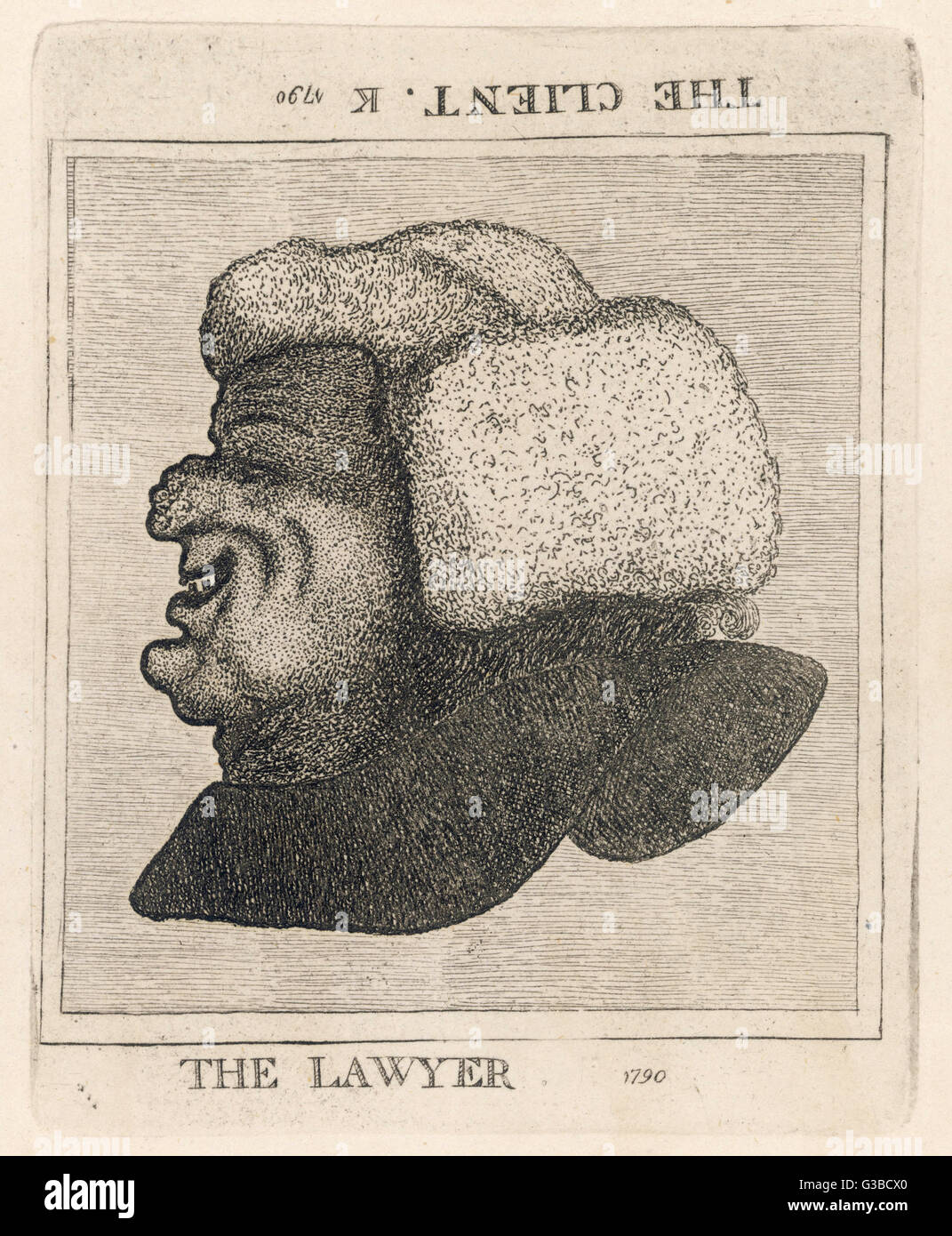 An optical trick.  One way up  you can see a portrait of a  smiling barrister but if you  turn it upside down, you - Stock Image