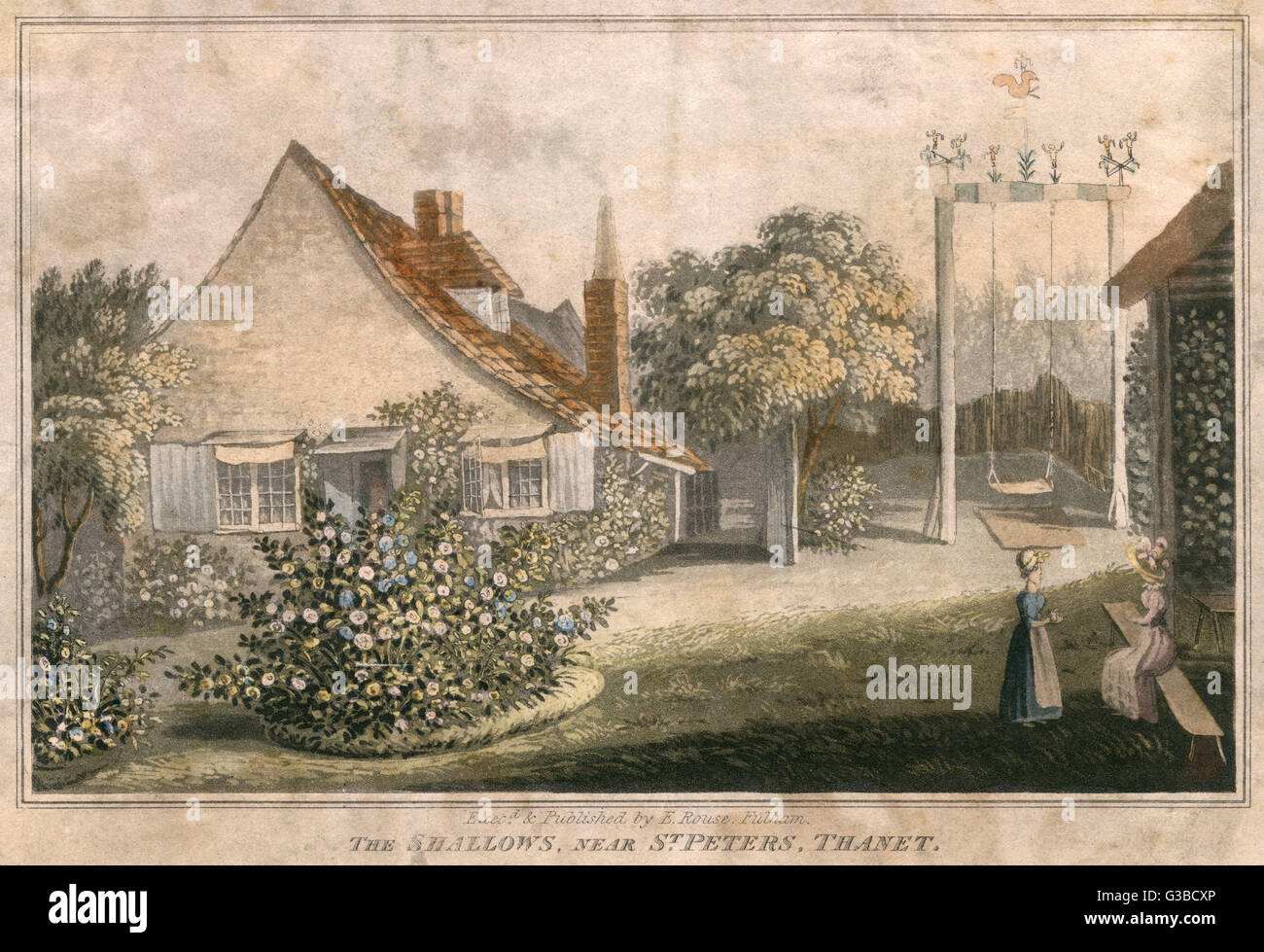 Two ladies in the garden of an  English country cottage in The  Shallows, near St Peters,  Thanet, Kent       Date: - Stock Image