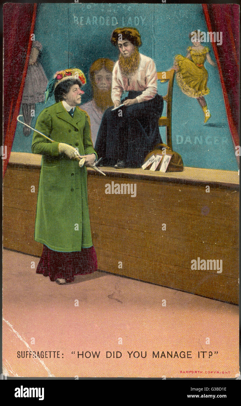 Suffragette to the Bearded  Lady in a fairground : How did you manage it ?        Date: circa 1908 - Stock Image