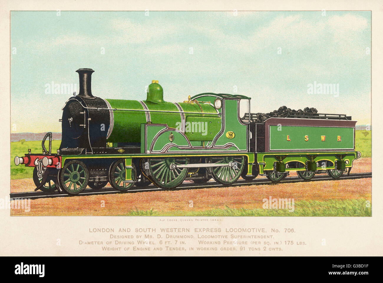 London and South Western  Railway locomotive no 706.        Date: 1899 - Stock Image