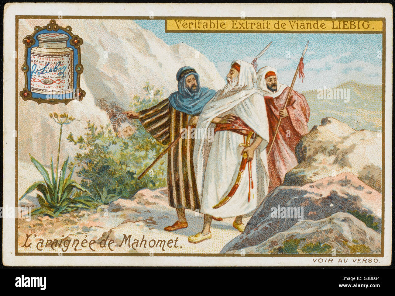 Myth of Mahomet & the spider:  the Koreishites pass the cave  which Mahomet, having fled  from Mecca, is - Stock Image