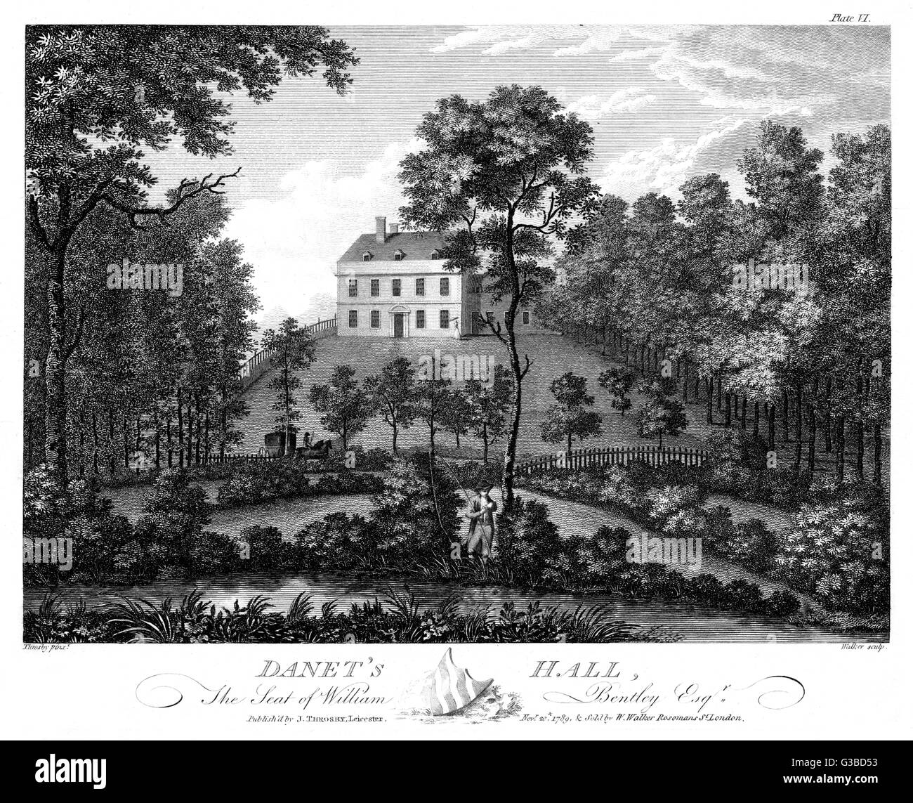 Danet's Hall, Leicestershire:  seat of William Bentley Esq        Date: 1789 - Stock Image