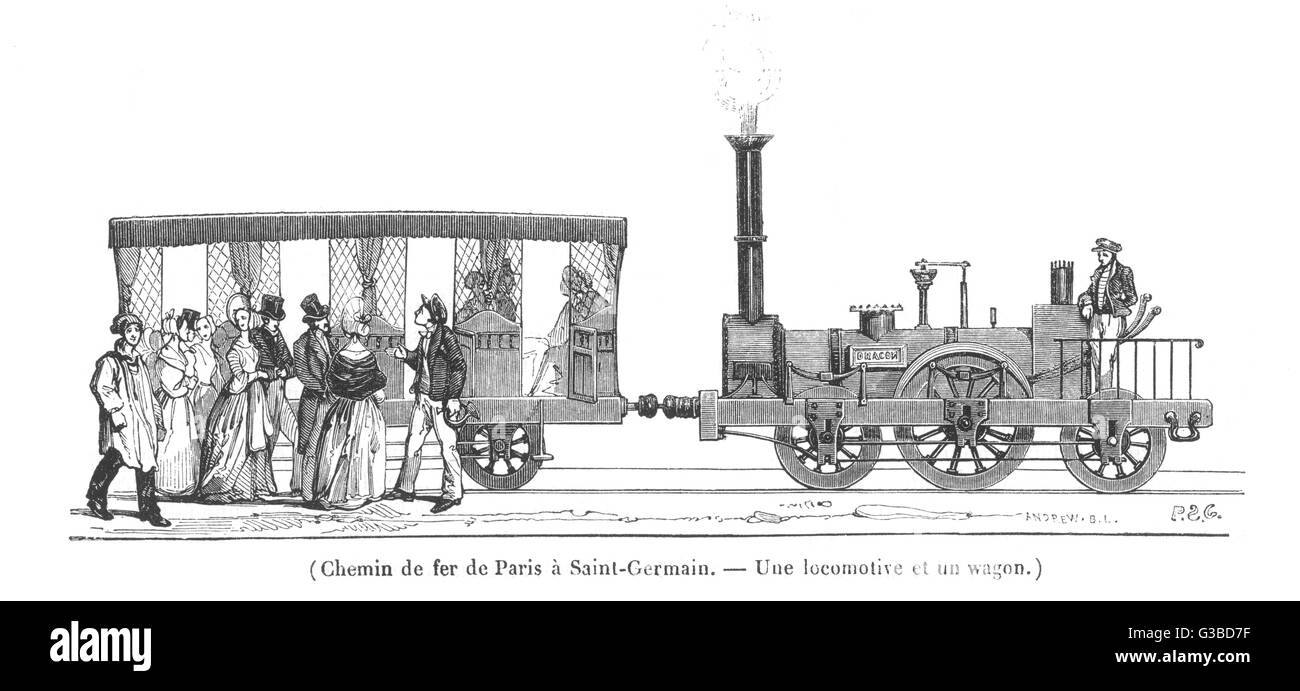 Locomotive 'Dragon' and wagon  of the 'Rothschild' line from  Paris to Saint-Germain.        Date: - Stock Image
