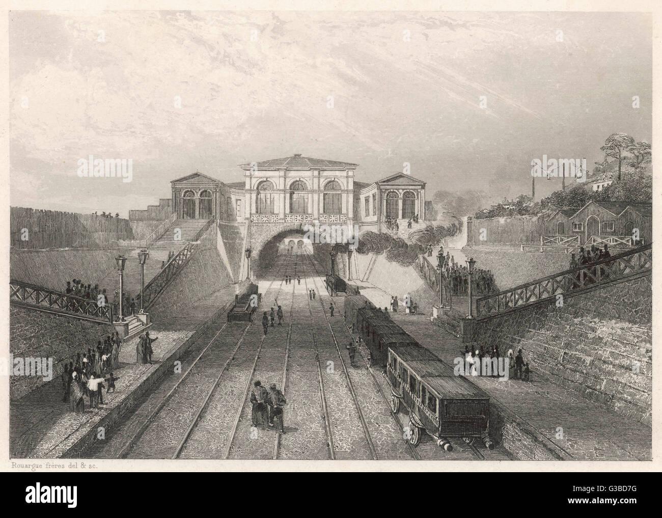 Scene on the 'Rothschild' line  linking Paris and Saint- Germain.       Date: 1837 - Stock Image