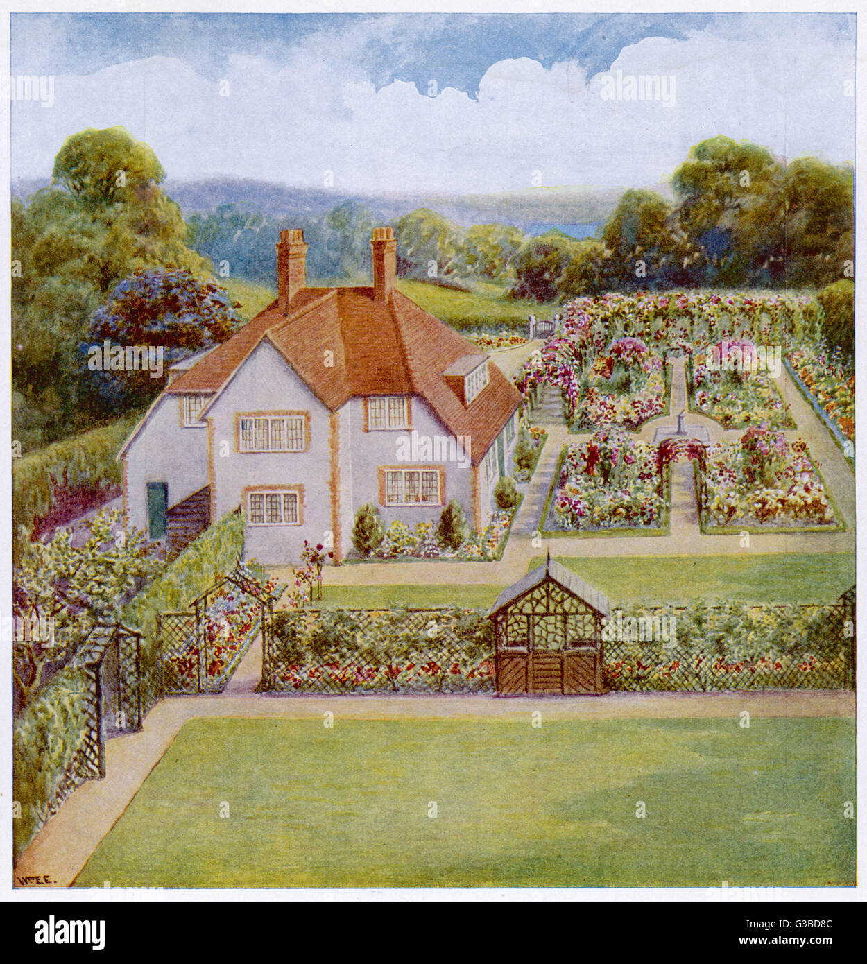 Layout for a garden and  detached country or suburban  house        Date: 1920s - Stock Image
