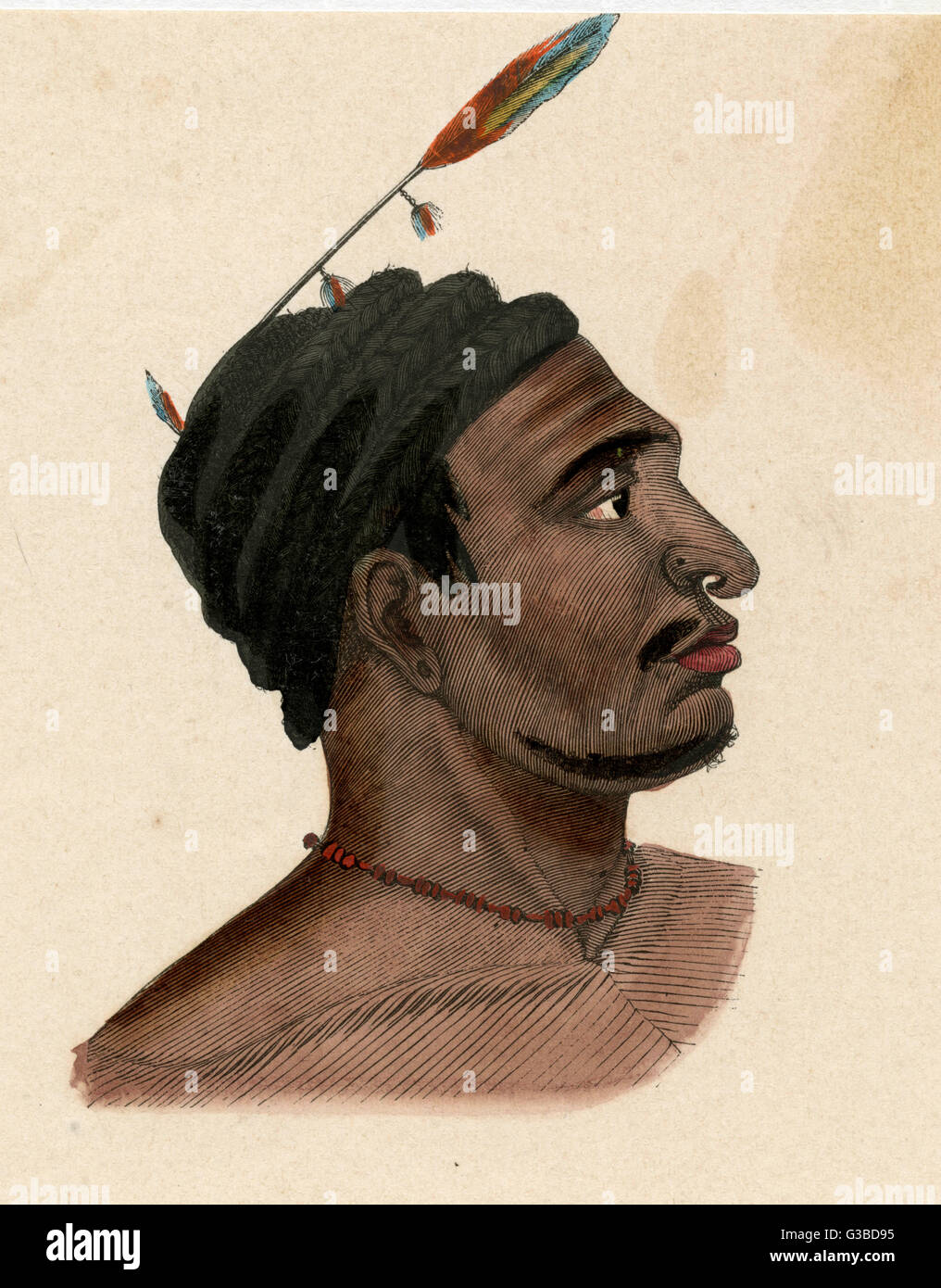 Man of New Guinea with a pierced nose.        Date: circa 1870 Stock Photo