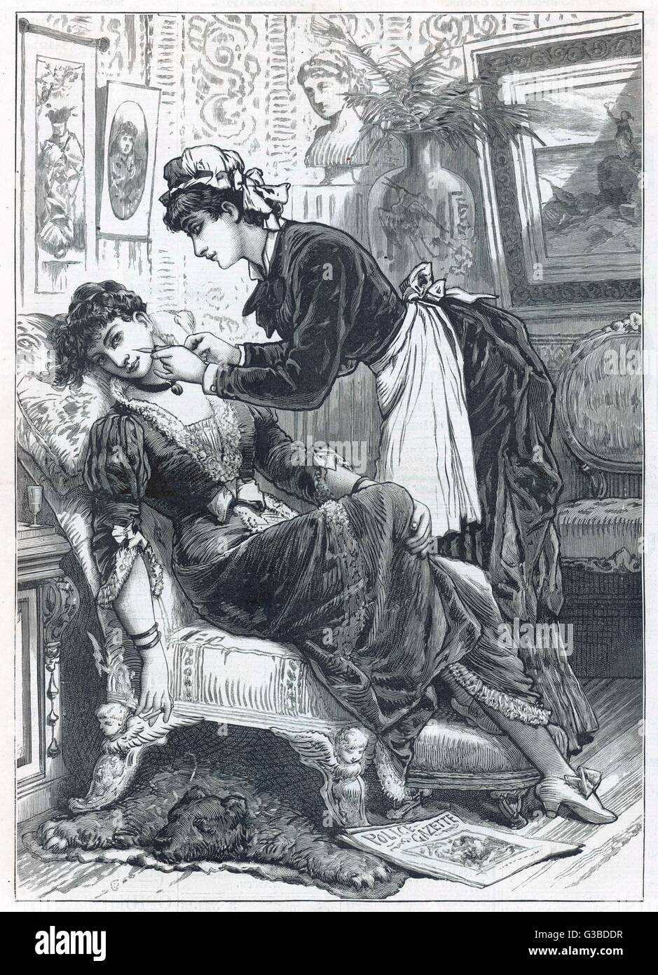 A maid uses a hypodermic  needle to put colour in  her mistress's cheeks.       Date: 1886 - Stock Image
