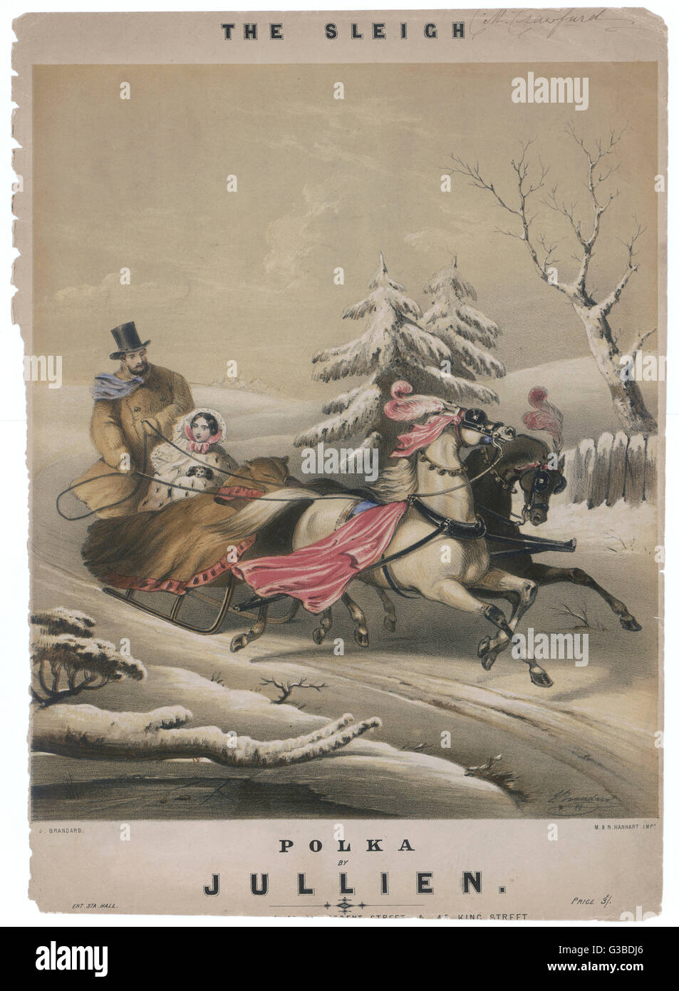 A couple go sleighing through  the wintry snow.        Date: circa 1860 - Stock Image
