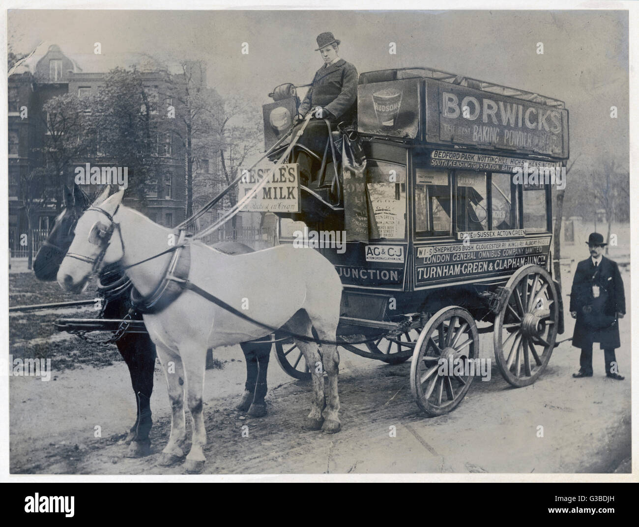 This horse bus of the London  General Omnibus Company plies  between Turnham Green and  Clapham, in south London. - Stock Image