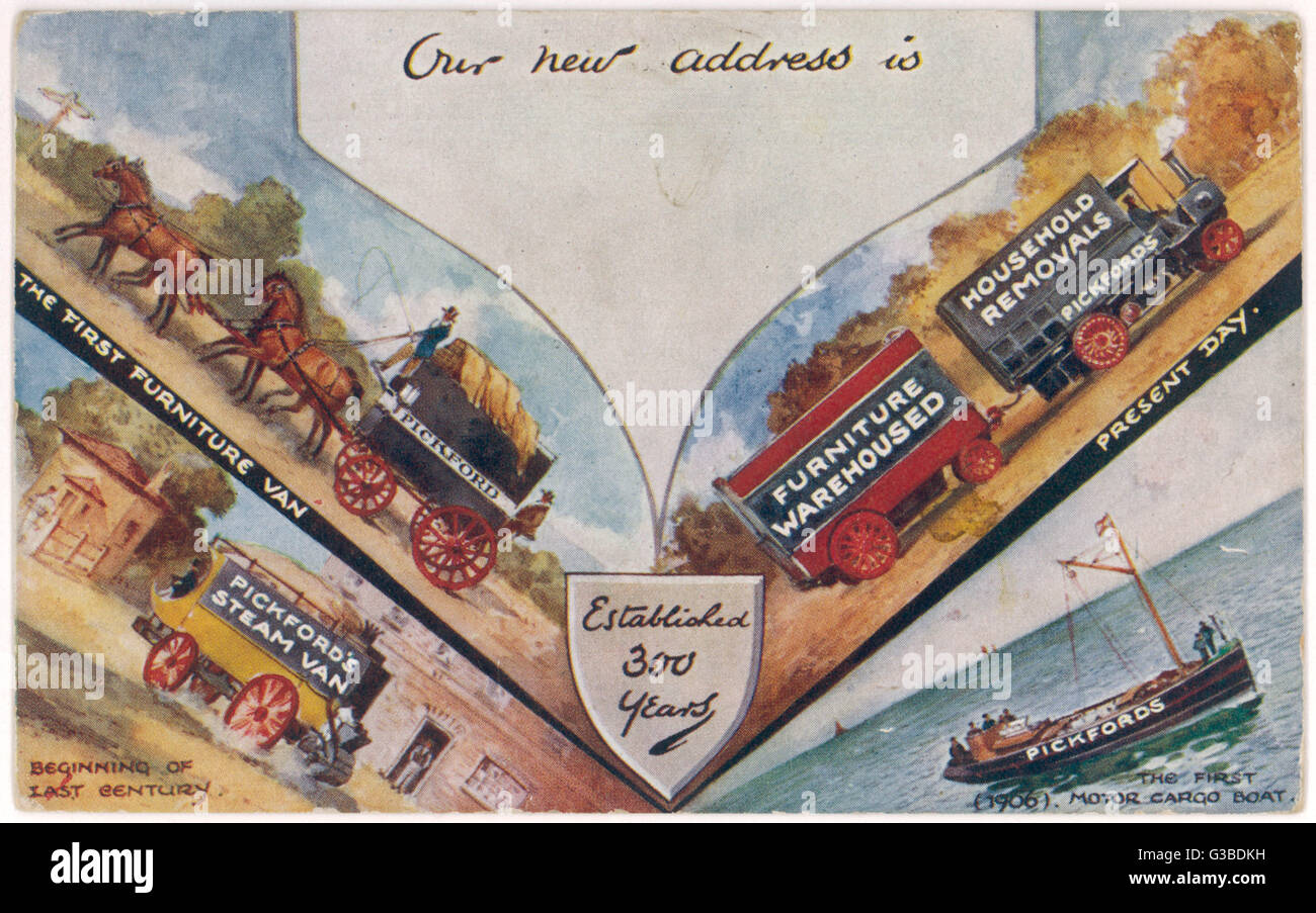 A change of address card  printed by Pickfords for their  customers to use.       Date: early 20th century - Stock Image