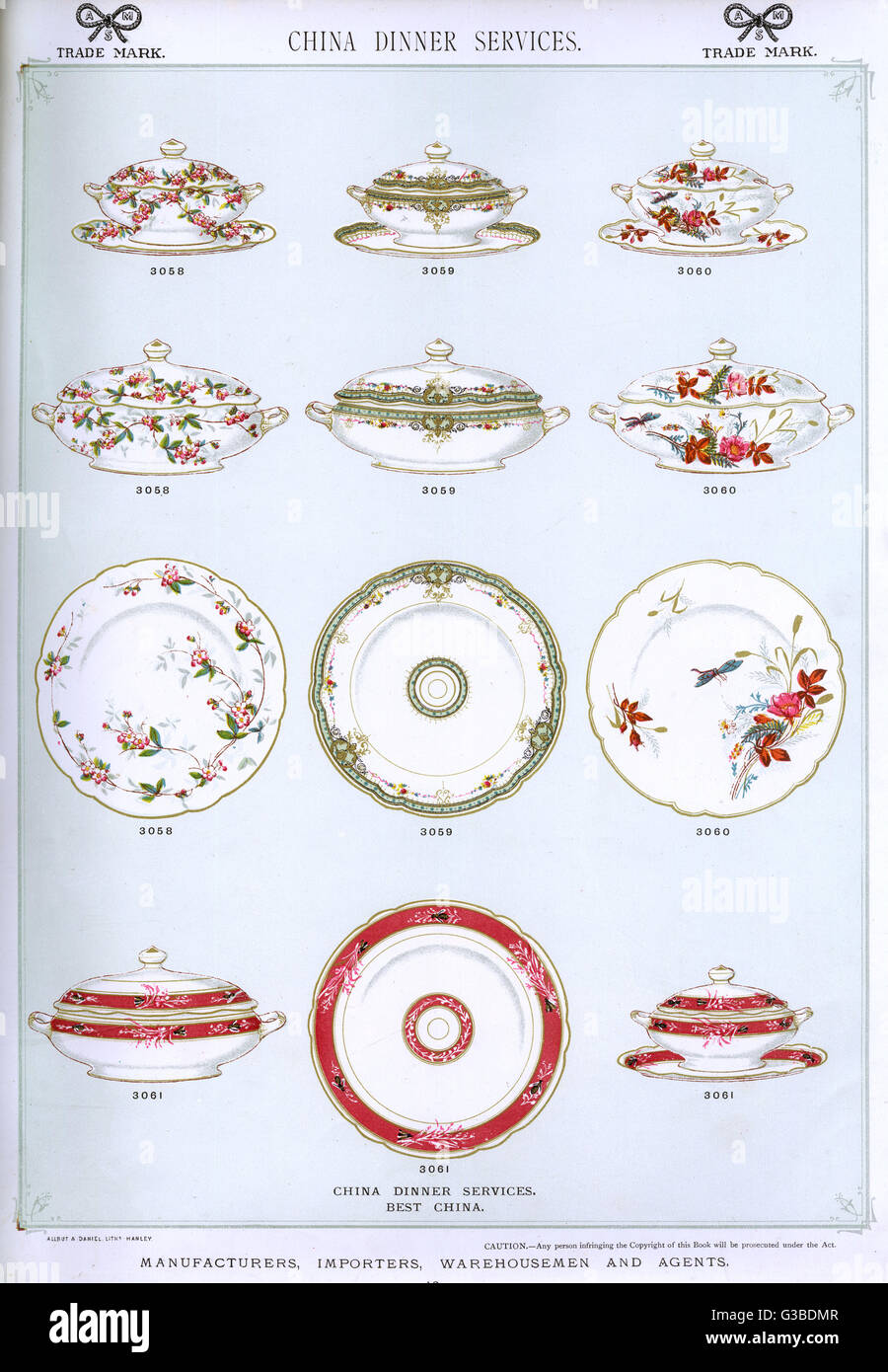 Various china dinner services, Plate 10, showing patterned plates and covered serving dishes.        Date: circa Stock Photo