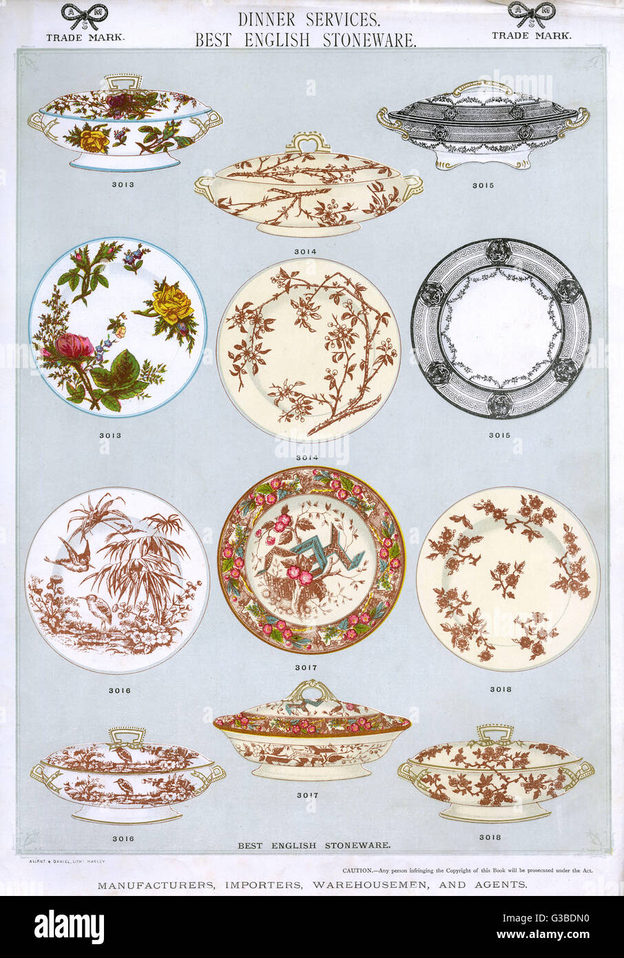 Dinner Services Best English Stoneware Plate 3 showing patterned plates and covered serving dishes. Date circa 1880s  sc 1 st  Alamy & Dinner Services Best English Stoneware Plate 3 showing patterned ...