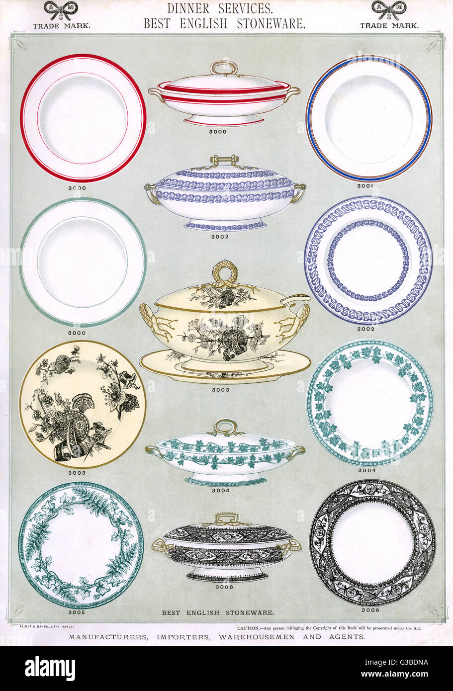 Dinner Services Best English Stoneware Plate 1 showing patterned and plain plates covered serving dishes and a tureen. Date circa 1880s  sc 1 st  Alamy & Dinner Services Best English Stoneware Plate 1 showing patterned ...