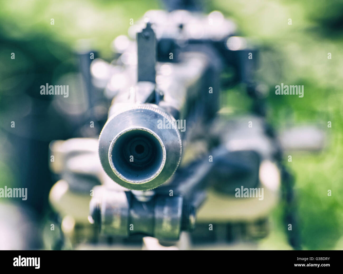 Close up photo of german historical machine gun of World War II. Cold photo filter. Ready to fire. War theme. Portable - Stock Image