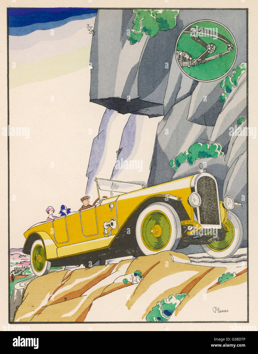 On a mountain road, good  shock absorbers are desirable.   Good brakes come in handy,  too.      Date: 1924 - Stock Image
