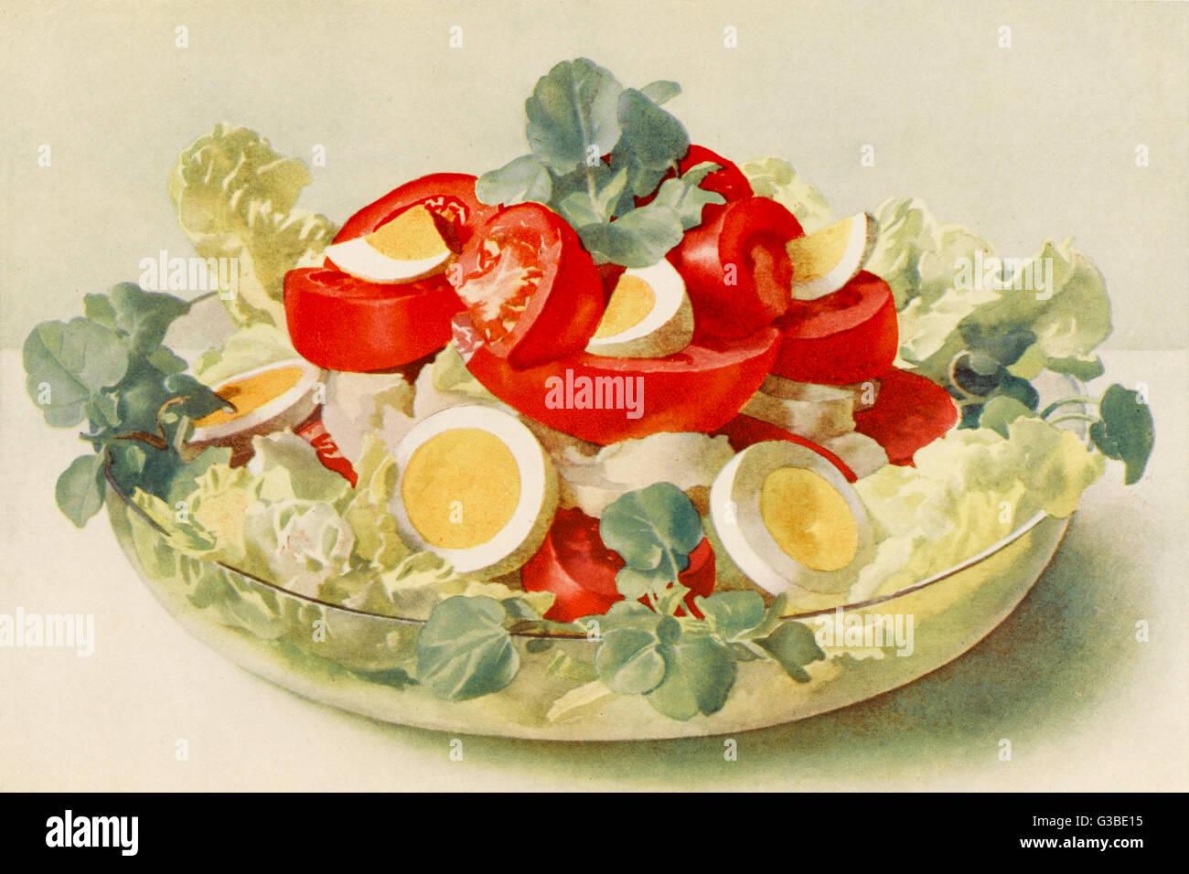 Tomato salad a la francaise.          Date: circa 1914 - Stock Image