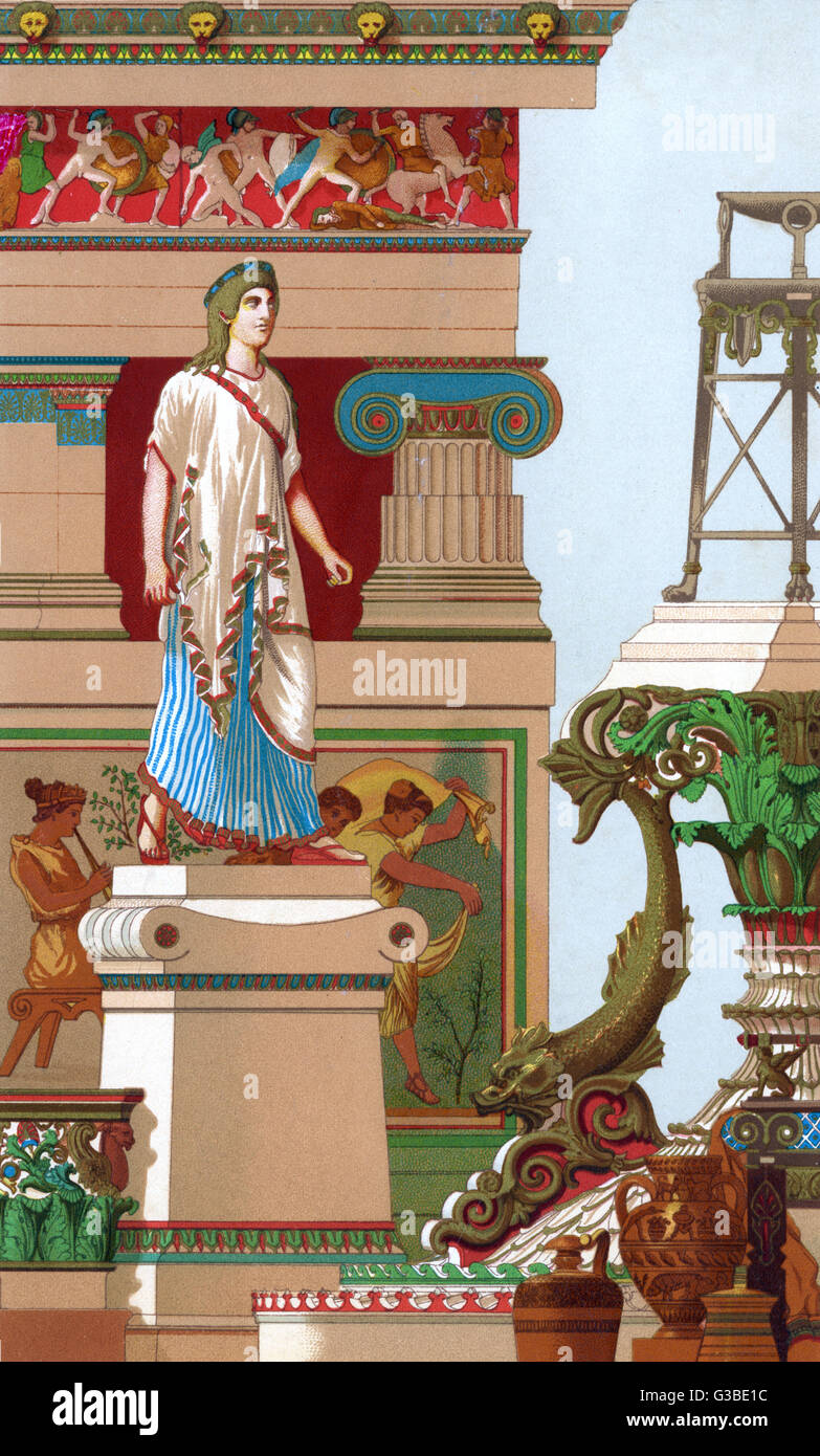 Details of classical Greek  architecture and sculpture  including a pillar, a statue  and an entablature       Date: - Stock Image