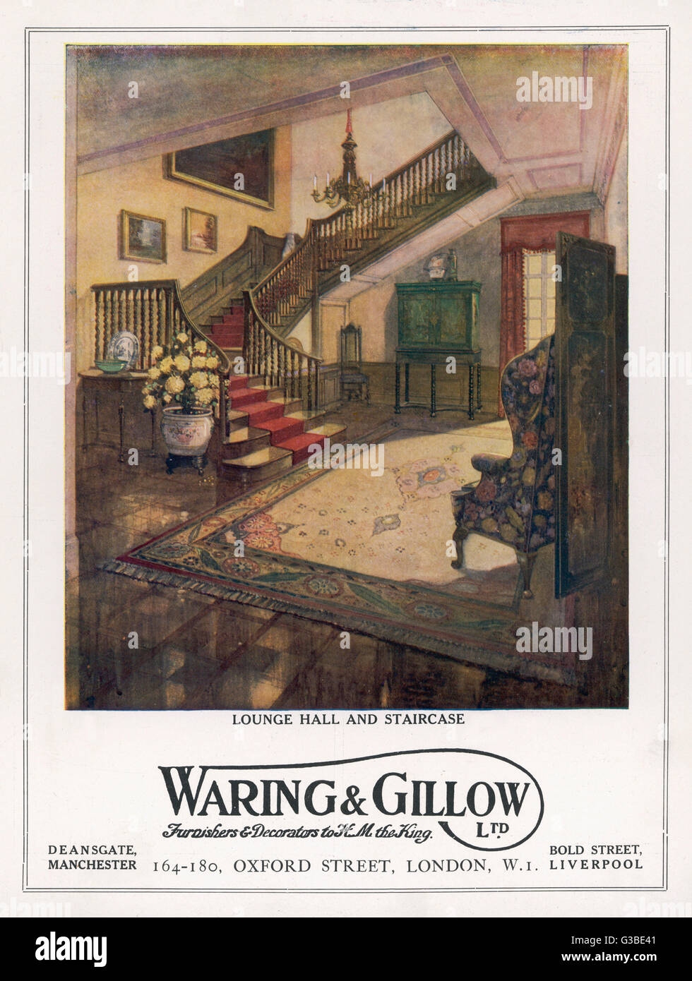 An improved hall and staircase  in an English townhouse  designed by Waring and Gillow.        Date: 1916 - Stock Image