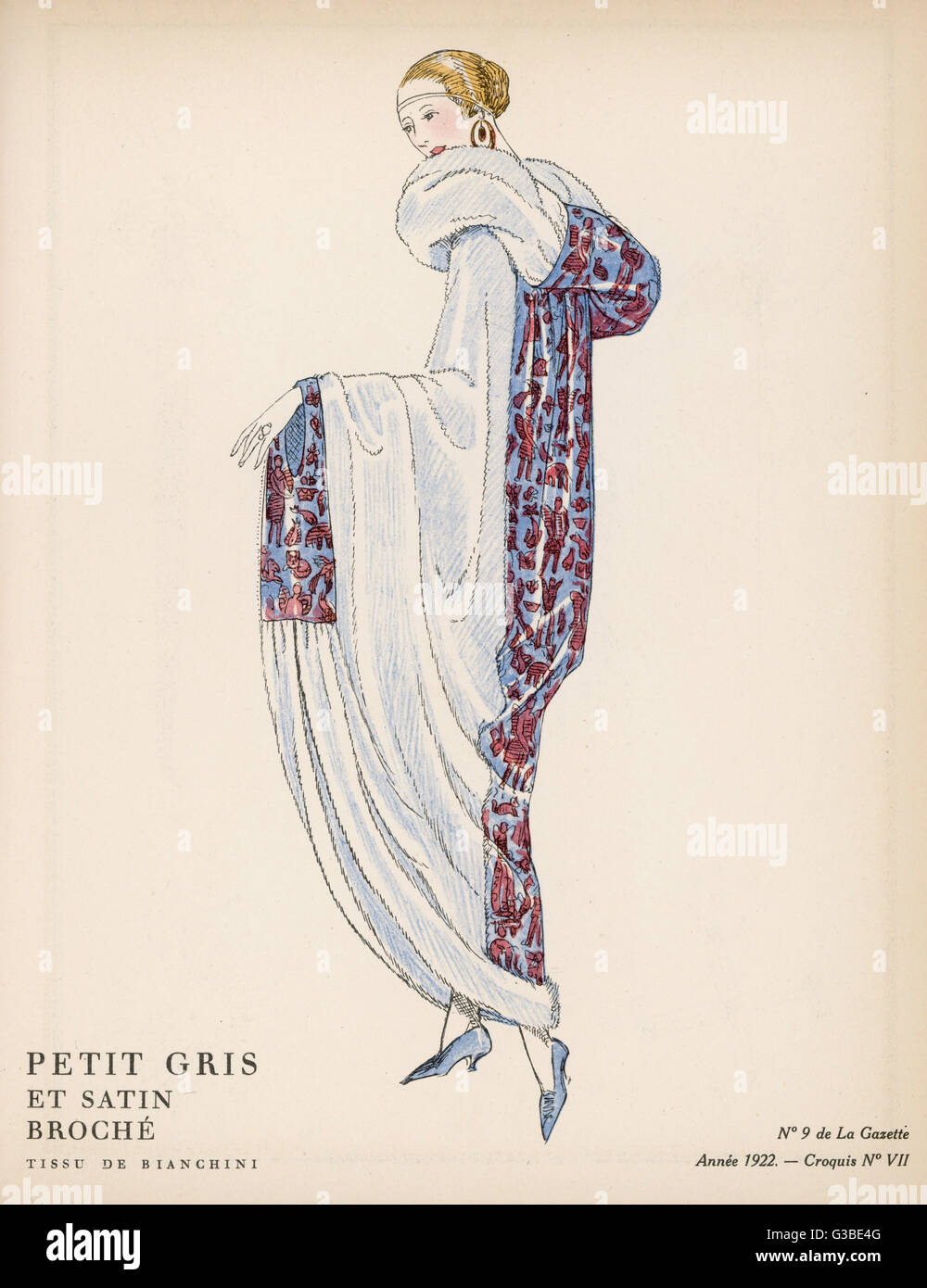Evening coat in fur & a fabric  using motifs from a non- European culture (?Egyptian) with hood & - Stock Image