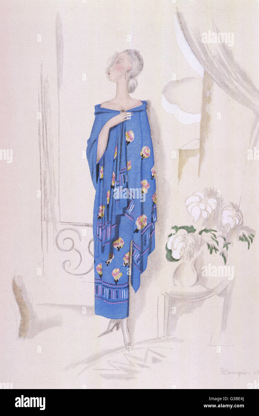 Tubular style strapless dress  & matching shawl in blue with  a stylised floral motif &  border - Stock Image