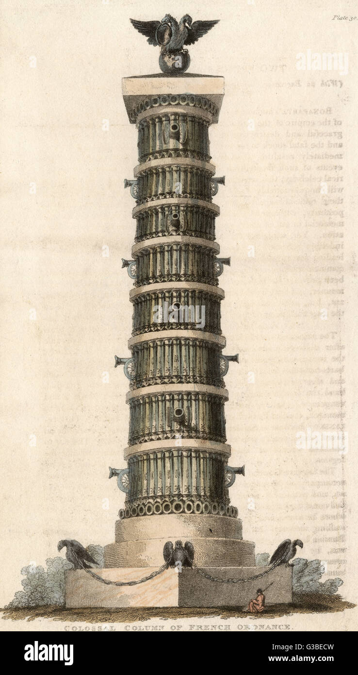 A colossal column built from  French ordnance with wheeled  cannon decorating each tier        Date: circa 1815 - Stock Image