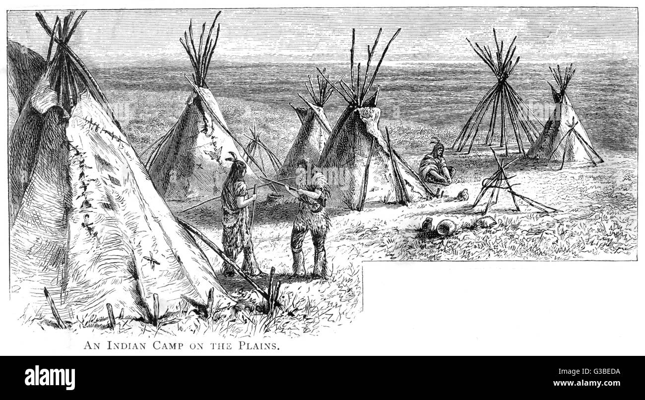 Native American tepees on the  plains         Date: 1884 - Stock Image