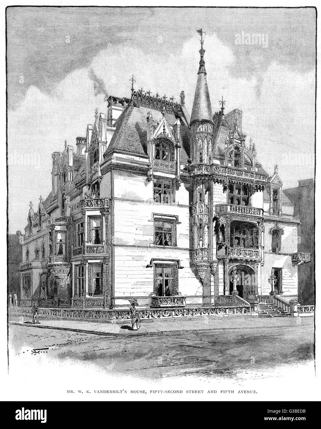 The luxurious house of W K  Vanderbilt on 52nd Street and  Fifth Avenue in New York        Date: 1885 - Stock Image