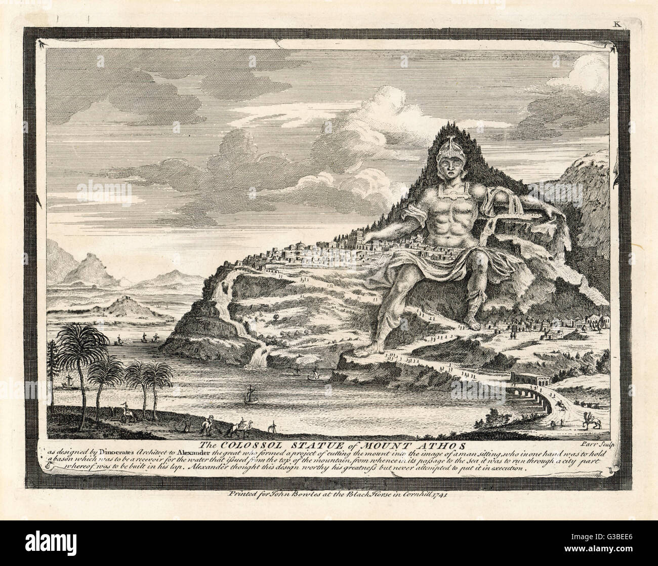 The Macedonian architect  DINOCRATES (died 278 BCE)  proposes this development for  Mount Athos, in which a  colossal - Stock Image