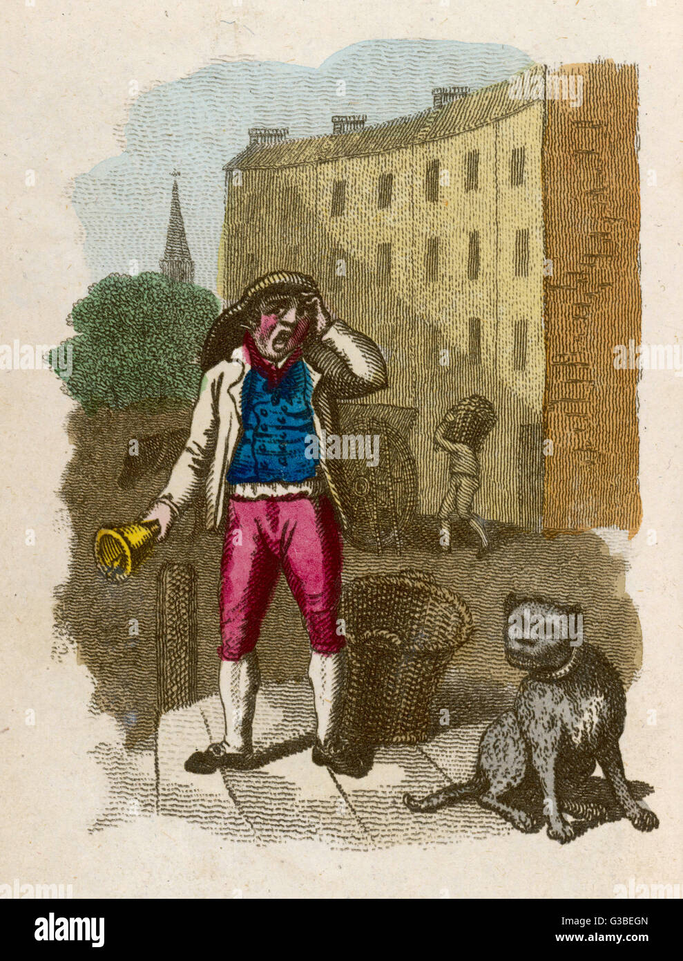 'Dust Ho !' - a London dustman  cries and rings his bell for  householders to bring out  their waste.   - Stock Image
