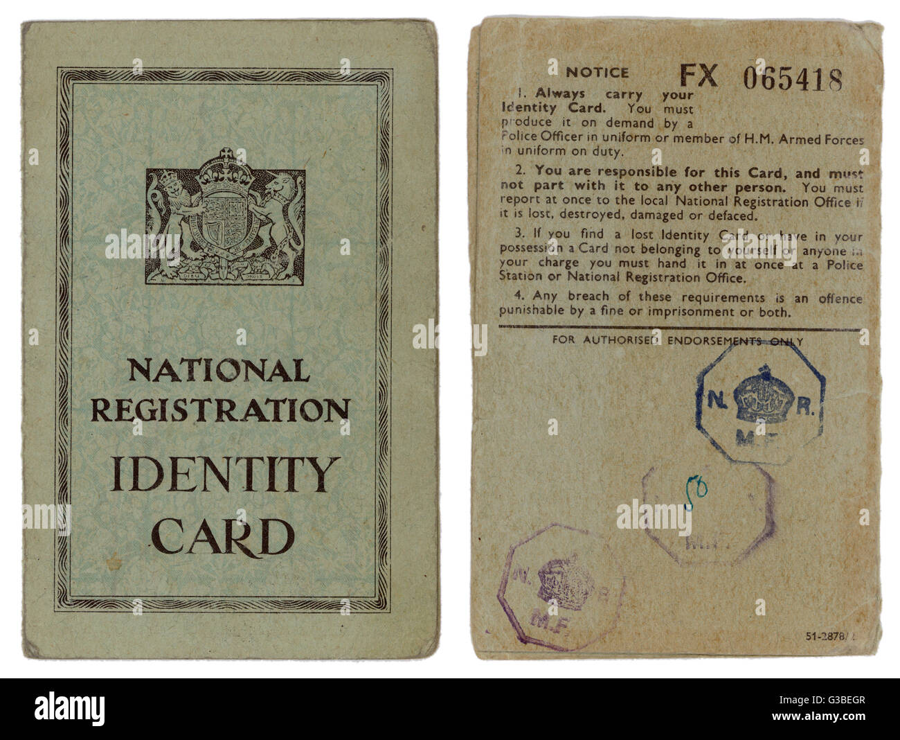 During World War Two, every  British citizen must carry his  or her identity card at all  times.  Otherwise you - Stock Image