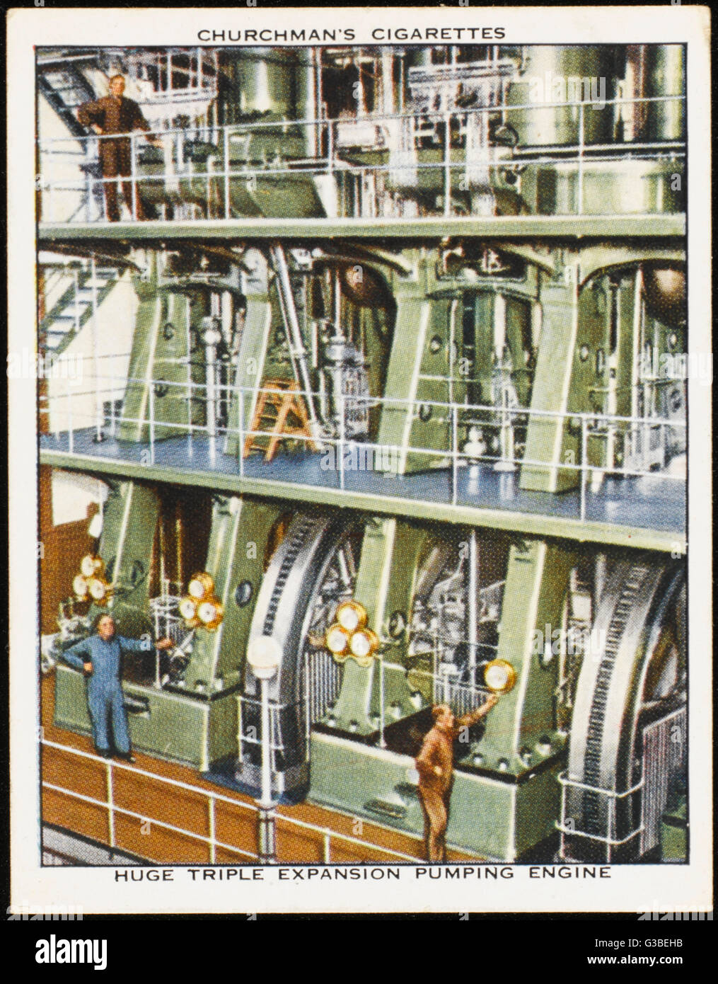 Kempton Park, Surrey : the  triple expansion pumping  engine in the waterworks.   Note the size of the men Stock Photo