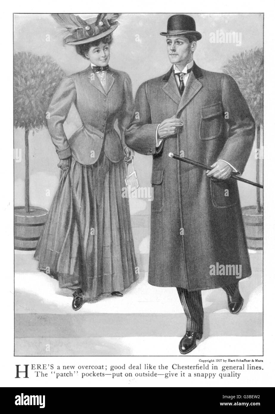 Don't mess with a classic!  Ameican version of a fly- fronted Chesterfield overcoat  with velvet collar & - Stock Image
