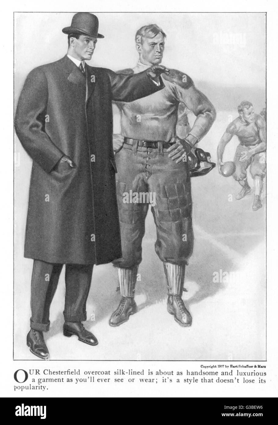 American version of a Chester  or Chesterfield overcoat. This  is a restrained model with  fly-front & without - Stock Image