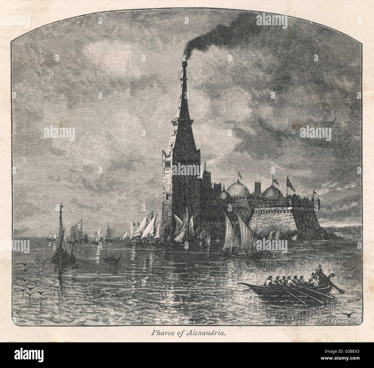 The Pharos of Alexandria, its  burning light guiding passing  boats        Date: Ancient - Stock Image