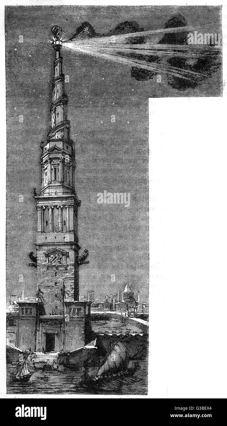 A strong light shining from  the tower of the Pharos of  Alexandria        Date: Ancient - Stock Image