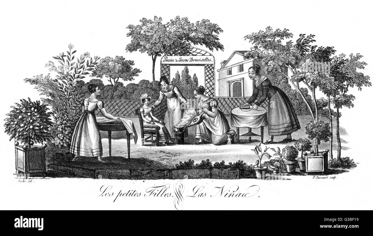 A French school for young  ladies - this particular  lesson is taking place in the open air.      Date: circa 1820 - Stock Image