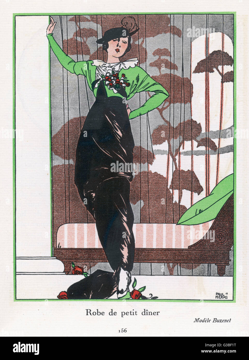 Design by Buzenet: green  dolman (batwing) sleeve bolero  (coatee) with white fluted  collar & floral corsage, - Stock Image