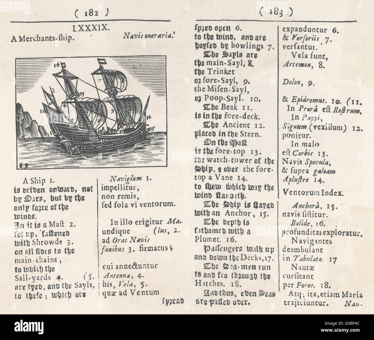 A merchant's ship with a key in English and Latin         Date: 1658 - Stock Image